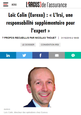 Loïc Colin (Eurexo) : « L'Irsi, une responsabilité supplémentaire pour l'expert »