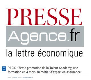 PARIS : 7ème promotion de la Talent Academy, une formation en 4 mois au métier d'expert en assurance